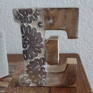 'E' Wood Block Decor